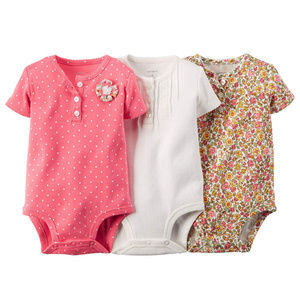 Baby Girl 3-pk Bodysuits Floral Pink Clothes